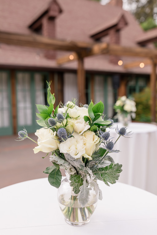 wedding cocktail patio floral decorations