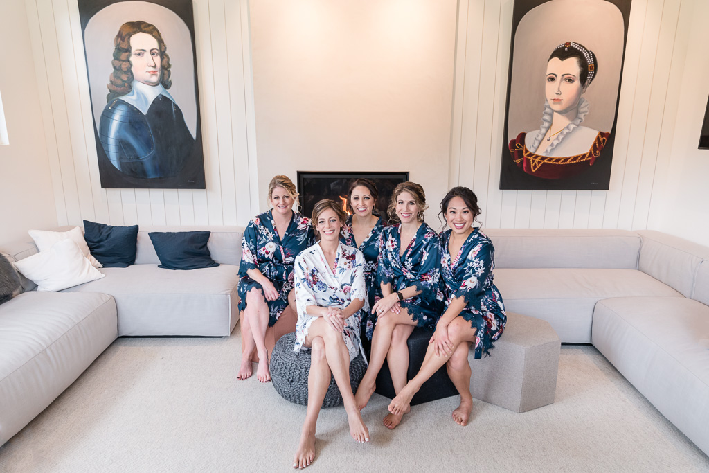 bridal party getting ready photo at a modern designer home in the bay area