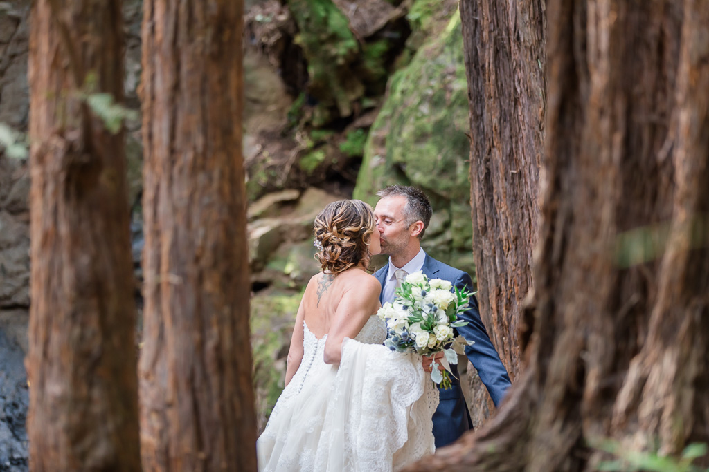 wedding first look in the redwoods in Mill Valley