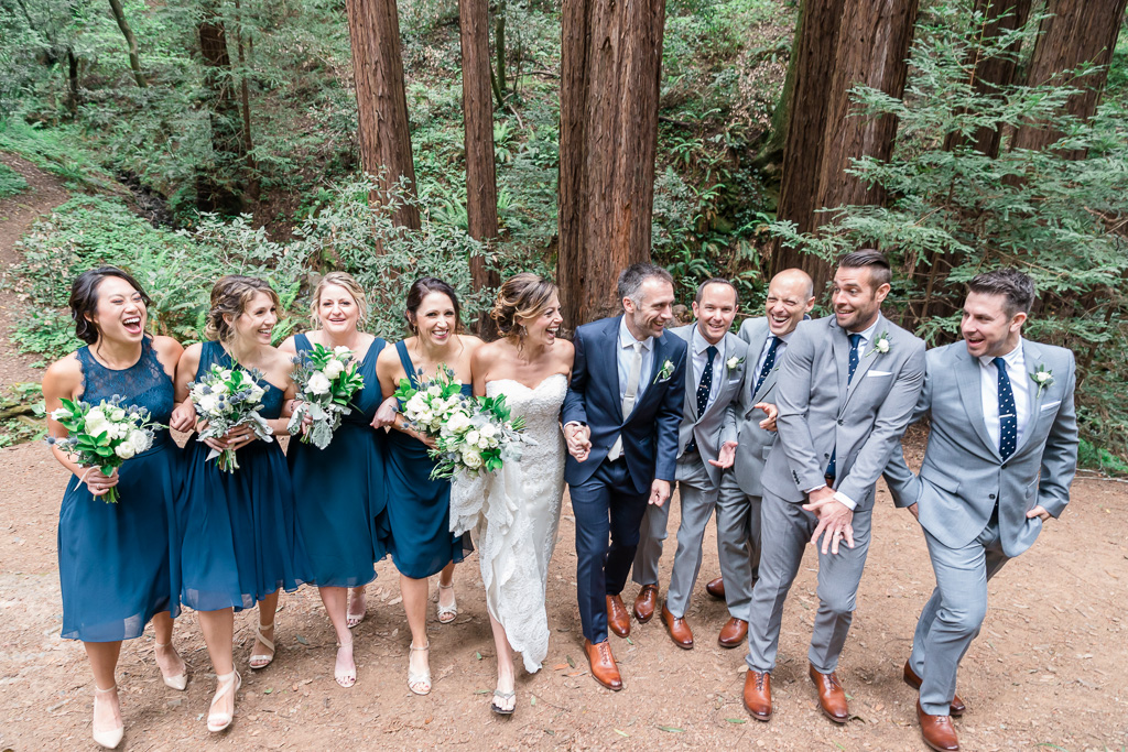 wedding bridal party walking in the redwoods