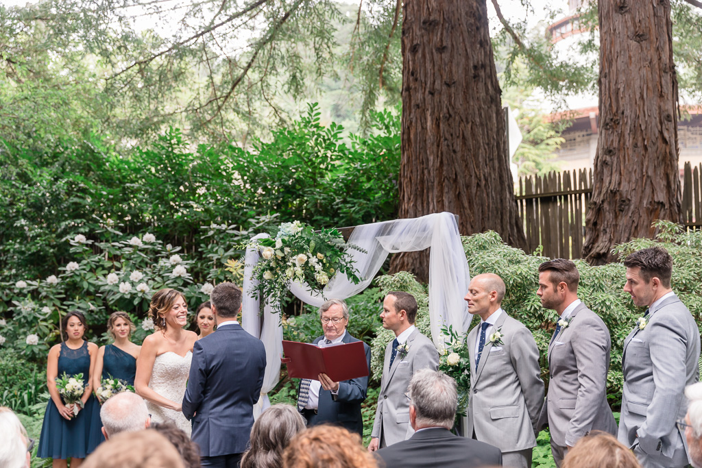 wedding ceremony spot secluded by trees