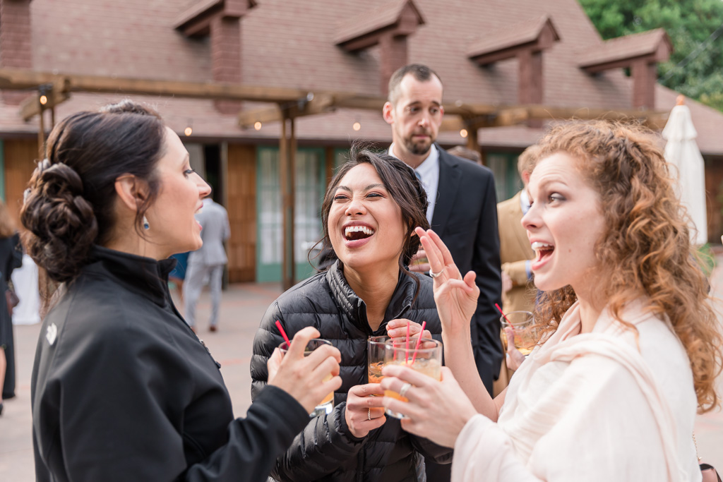 bridesmaid drinking and laughing