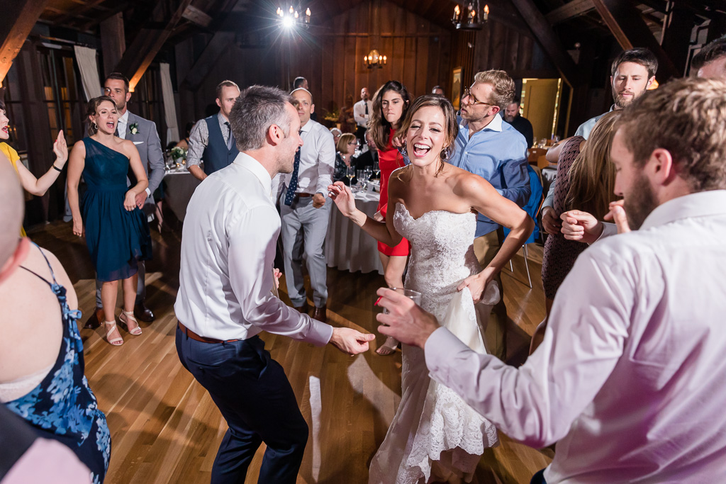 our happy newlyweds dancing with their live band