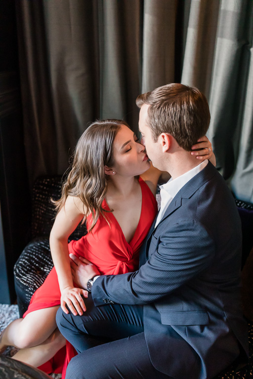 intimate indoor engagement photo at a San Francisco modern artsy hotel