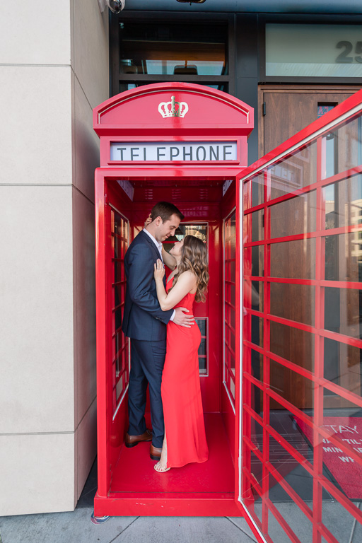 San Francisco engagement photo inside a classic payphone booth