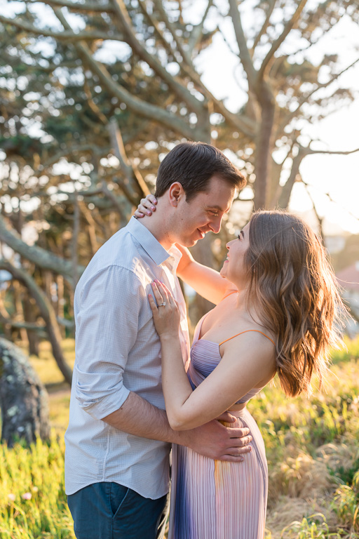 romantic engagement photo in San Francisco woods