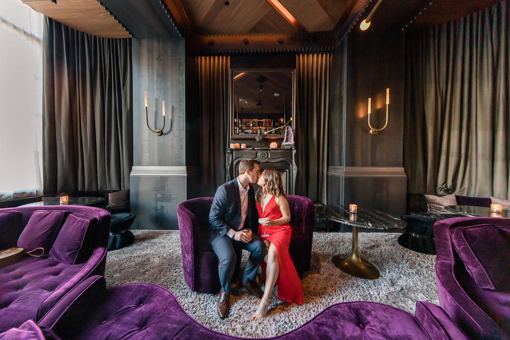 couple's engagement photo at San Francisco Virgin Hotels gorgeous lounge