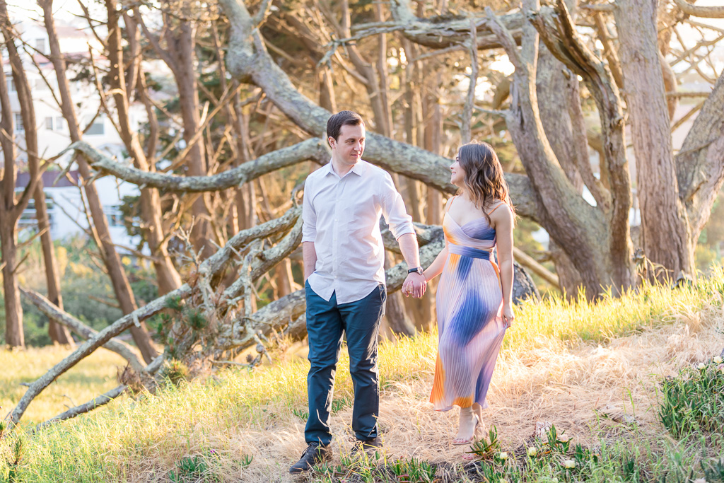 san francisco woodsy engagement portrait