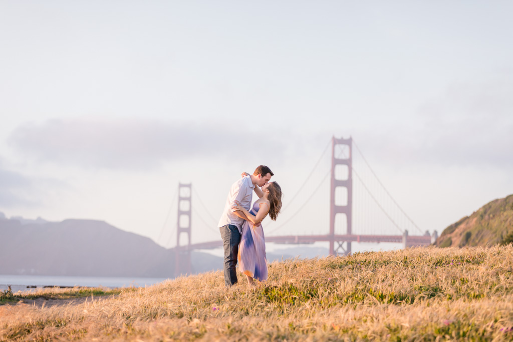 Golden Gate Bridge engagement portrait photo