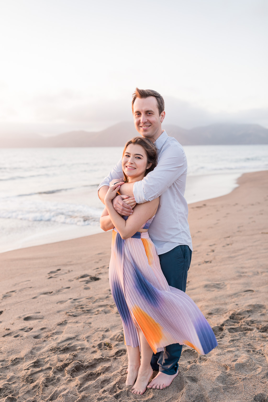 San Francisco beach sunset engagement save the date couple portrait