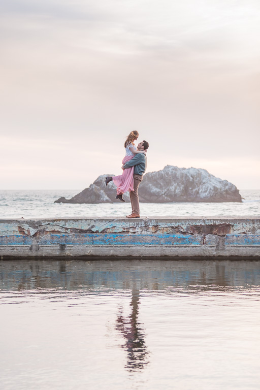 engagement session at Sutro Baths by the water
