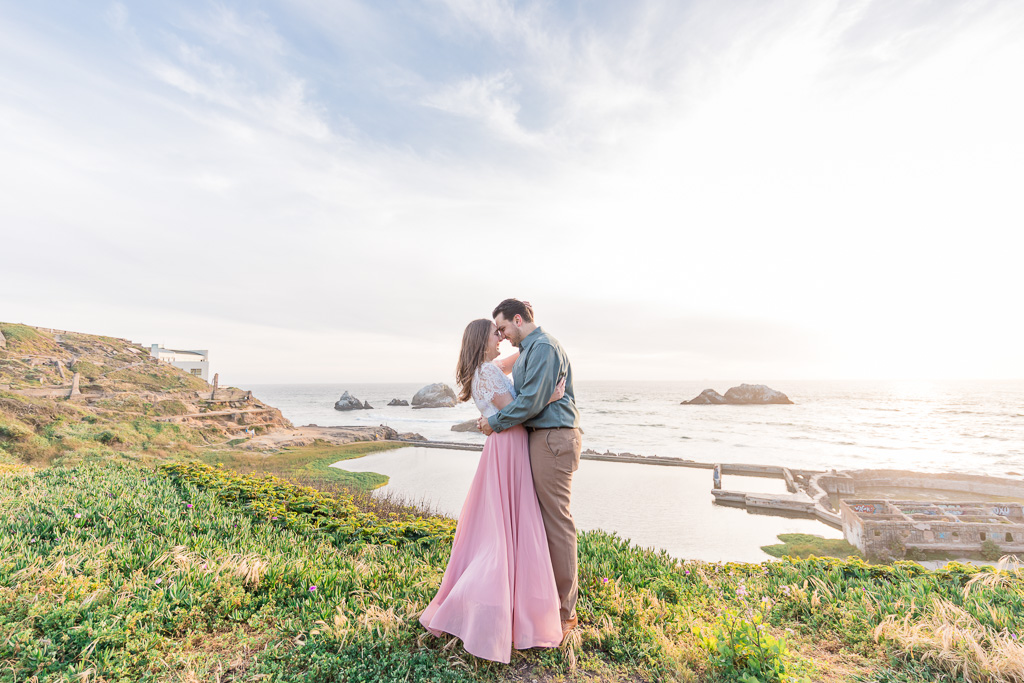 gorgeous sunset engagement portrait at Sutro Baths