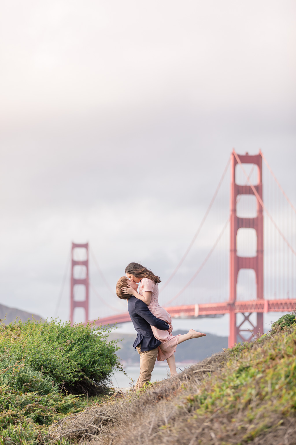 ultra romantic engagement photo by the Golden Gate Bridge