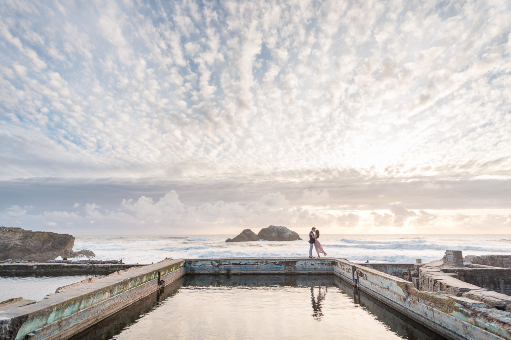 breathtaking sunset engagement portrait at Sutro Baths