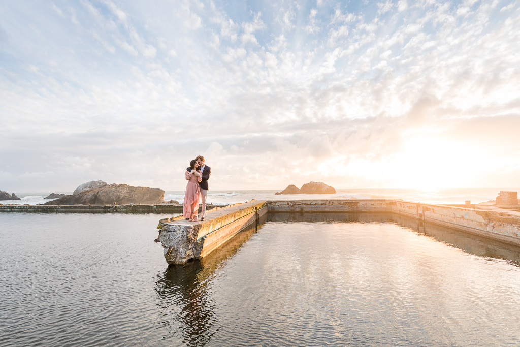 stunning San Francisco sunset romantic engagement photo by the water