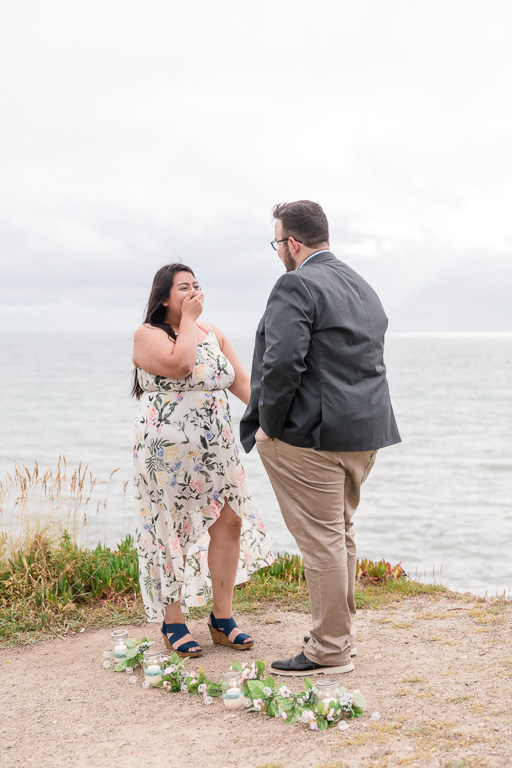 Half Moon Bay surprise proposal on the coastal trail