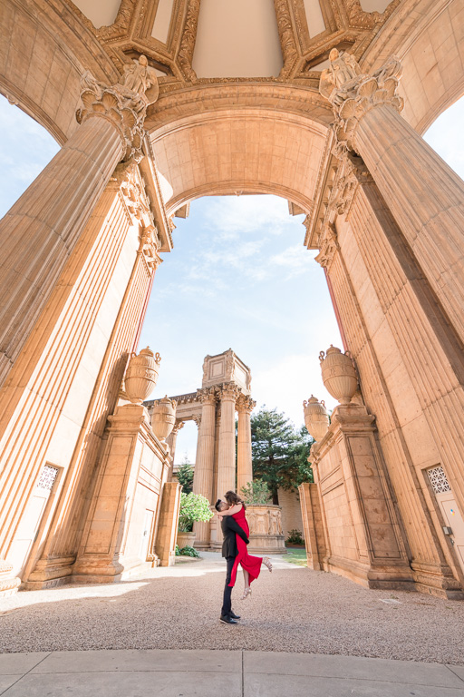 Palace of Fine Arts save the date engagement photo