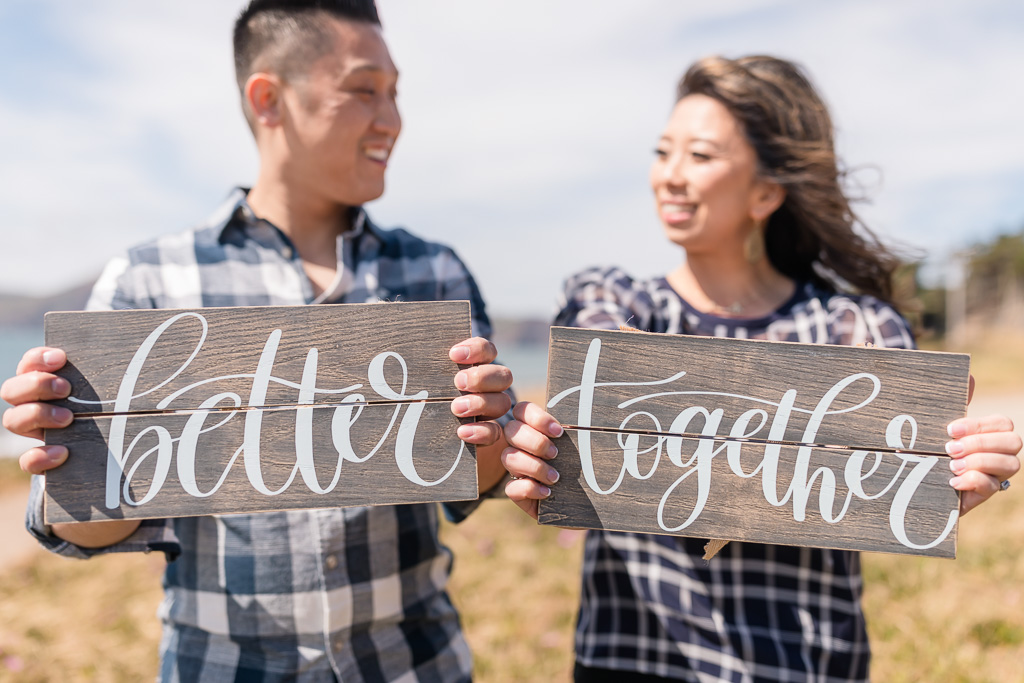 better together wooden sign for engagement photo
