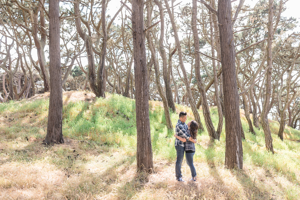woodsy San Francisco engagement photo