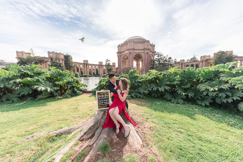 Palace of Fine Arts is one of the most popular location for San Francisco engagement photos
