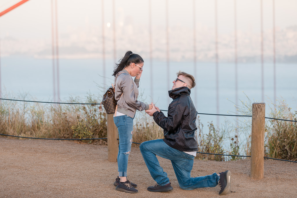 couple got engaged at the iconic San Francisco city lookout