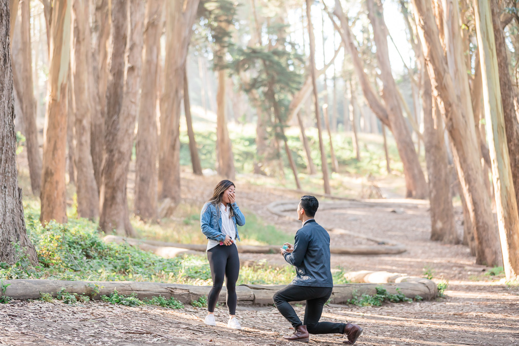 San Francisco Lovers' Lane woodline surprise engagement proposal