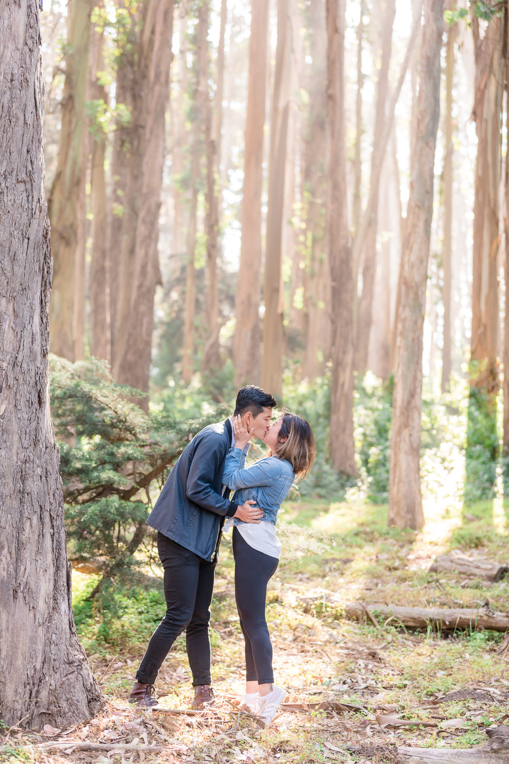 Lovers' Lane engagement photos in the woods