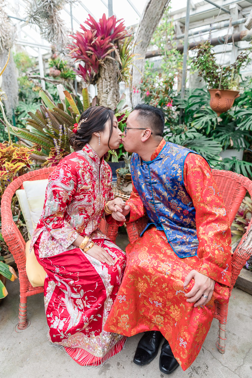 San Francisco couple in their Chinese traditional wedding gown
