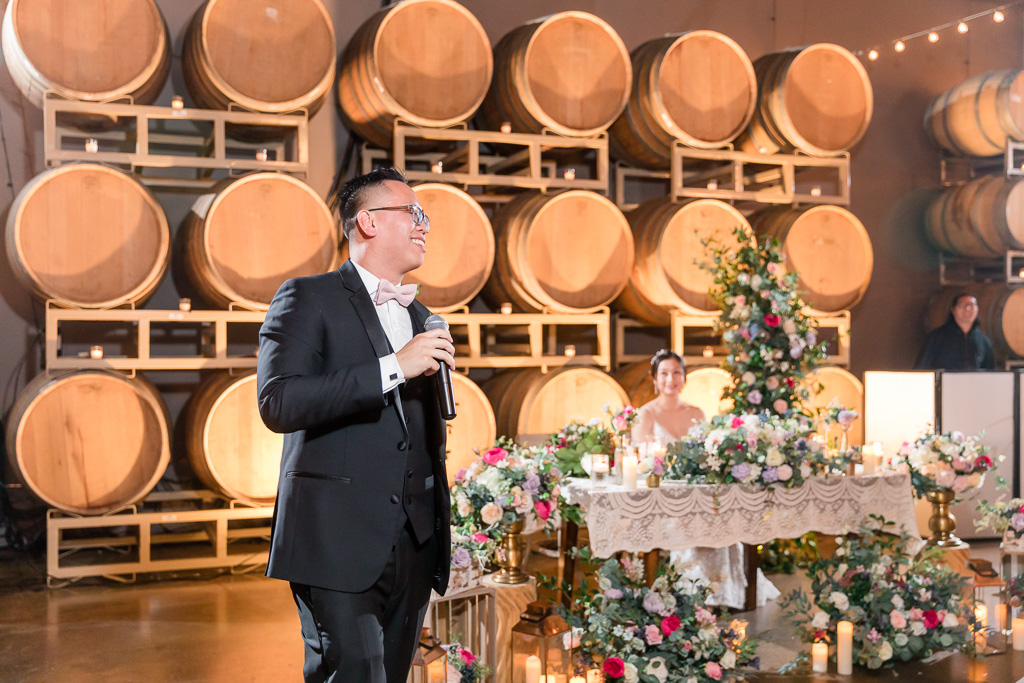 groom giving a speech at Domenico Winery