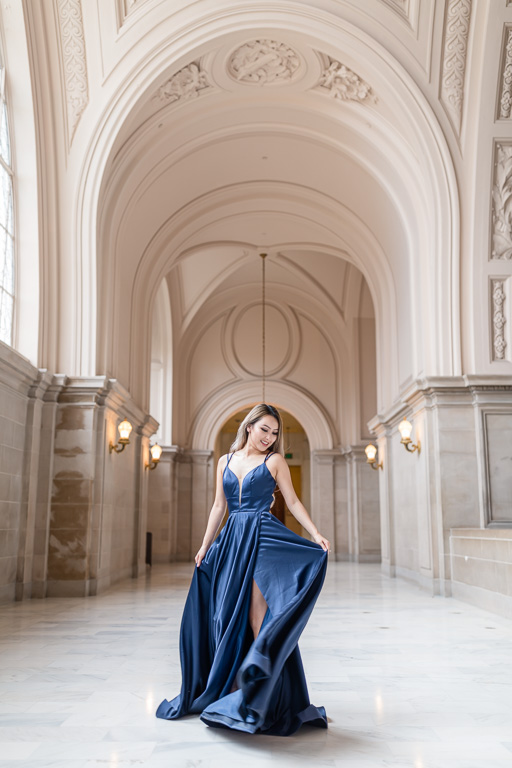rocking her Hollywood gown inside San Francisco City Hall