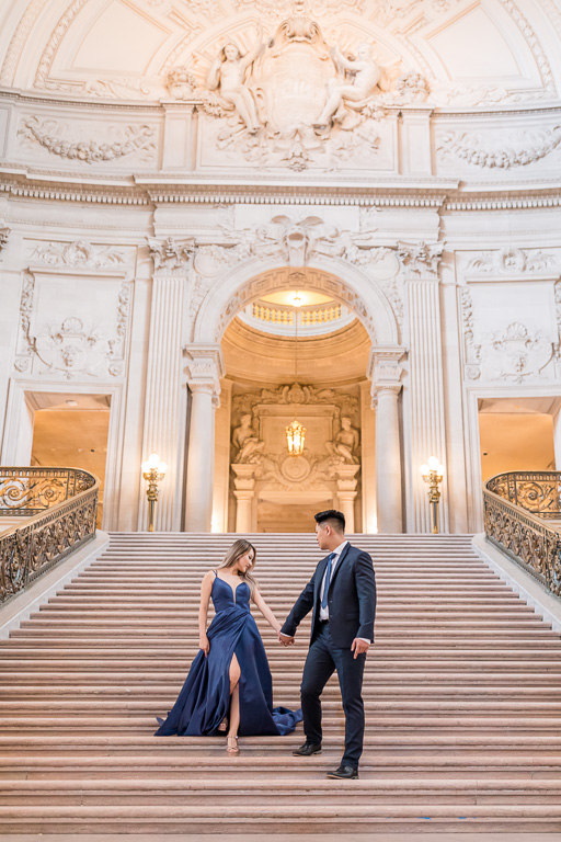 this San Francisco City Hall engagement photo looks like a Cinderella movie poster