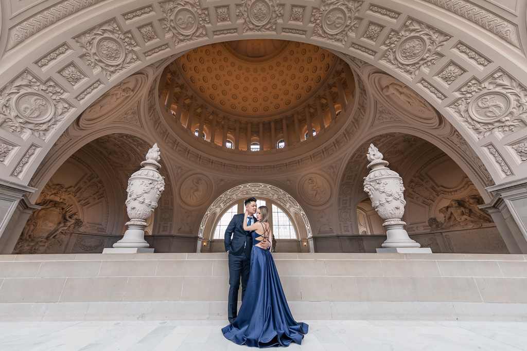 gorgeous bride and groom portrait at the 4th floor Mayor's Balcony