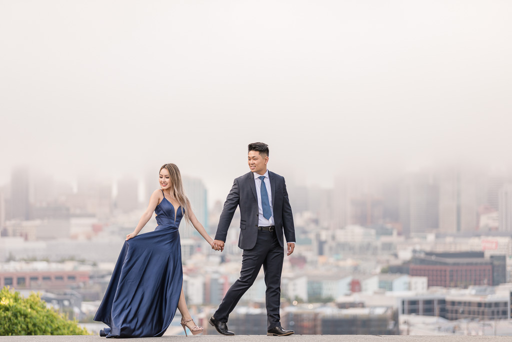 San Francisco urban engagement photo with city in the background