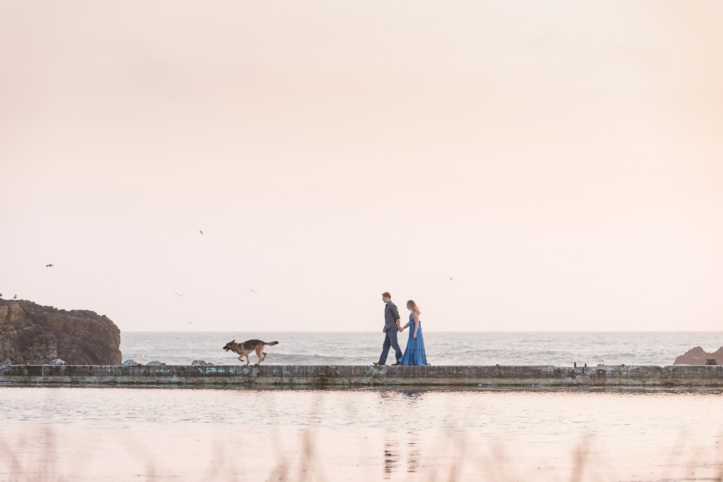 Sutro Baths engagement photo with a puppy