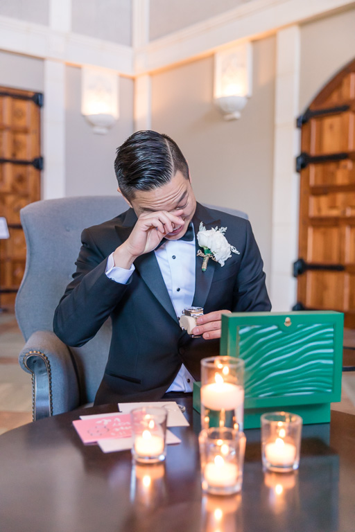 Casa Real wedding - groom got emotional at the gift exchange when he saw the Rolex watch