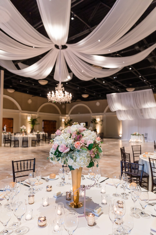reception centerpiece and table setting