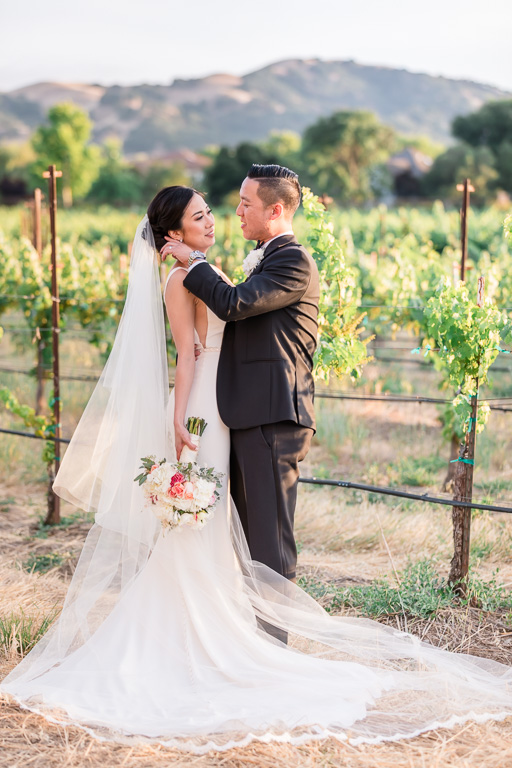 Casa Real wedding portrait in the vineyards