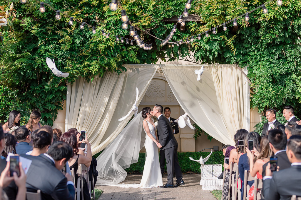 Casa Real beautiful outdoor ceremony dove release