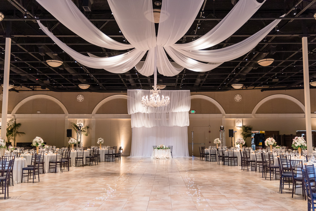 reception hall decor with draping