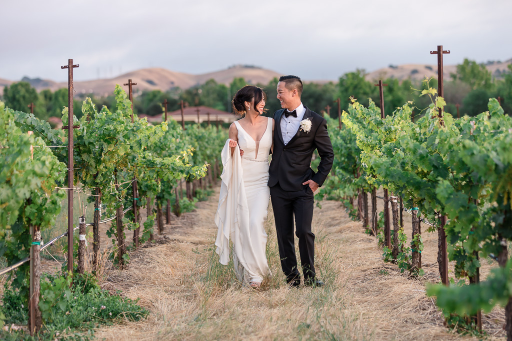 Casa Real vineyard wedding photo with rolling hills in the background