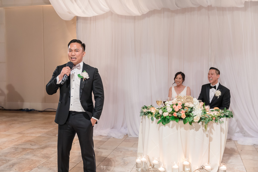 groomsman joked about something and made everyone laugh