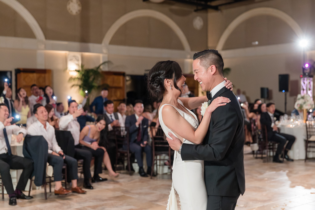 happy and sweet moment during newlyweds' first dance