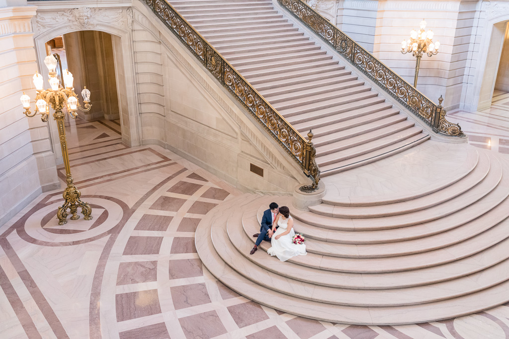 SF City Hall main hall bride and groom picture