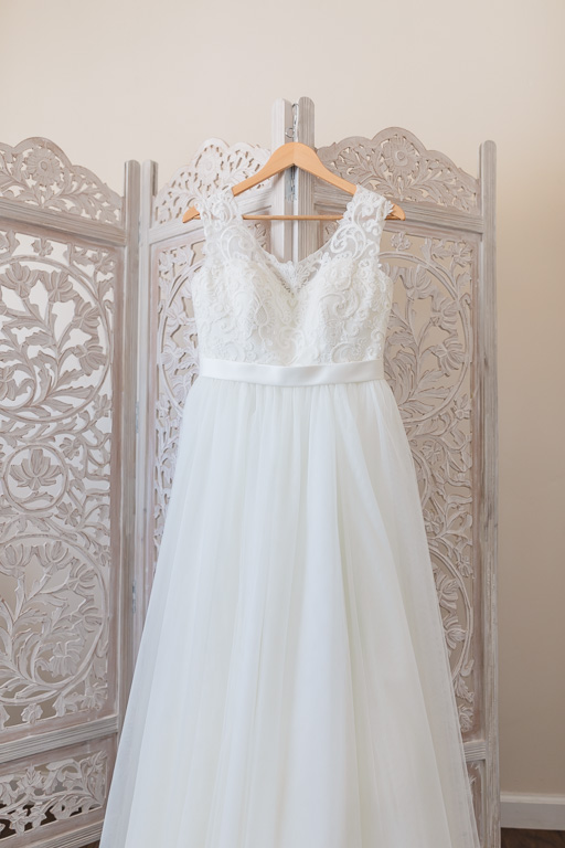 lace and tulle wedding gown