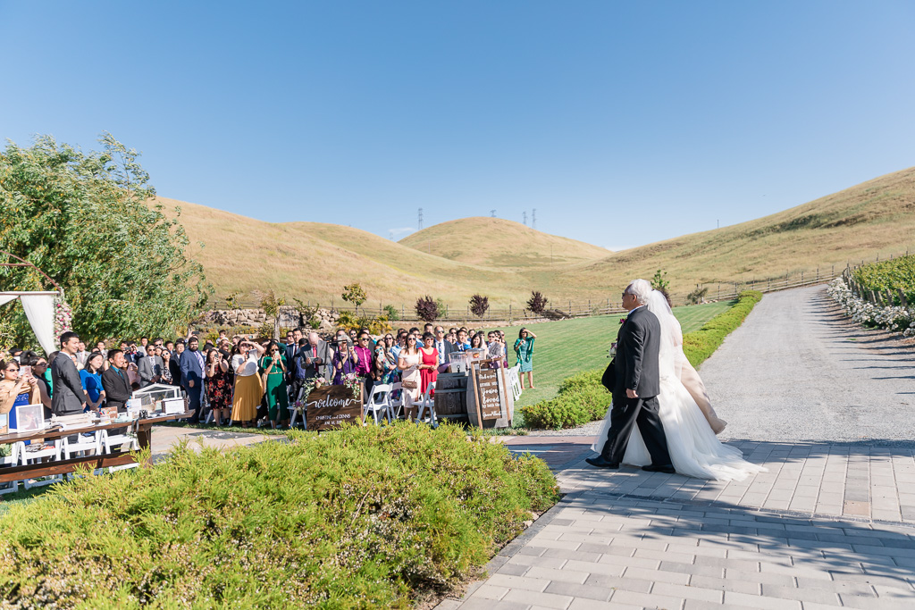 wedding processional in the most beautiful setting surrounded by mountains