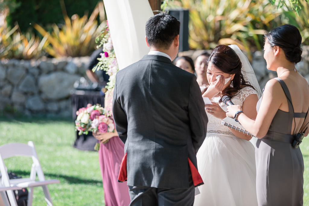 bride got emotional during their personal vow exchange