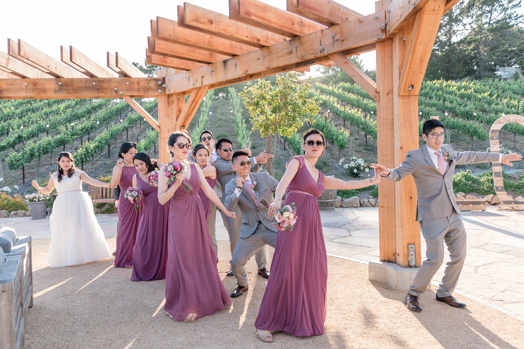 wedding party's grand entrance into the reception