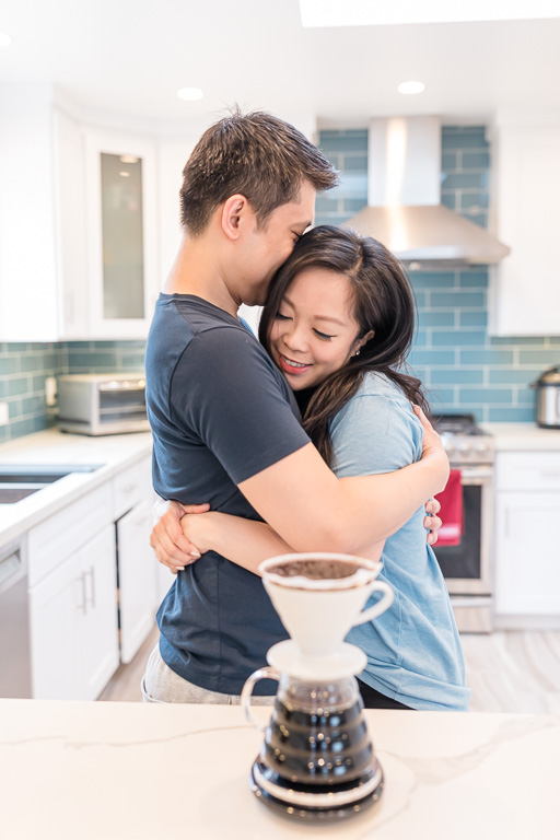 candid and natural in home engagement session in San Francisco
