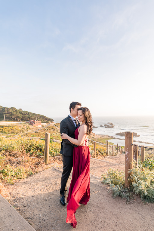 San Francisco outdoor engagement photo in the gorgeous sunset golden light