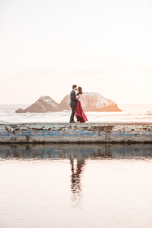 Lands end sunset engagement photo